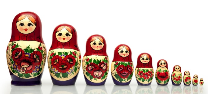 Russian Dolls, each fitting inside the other
