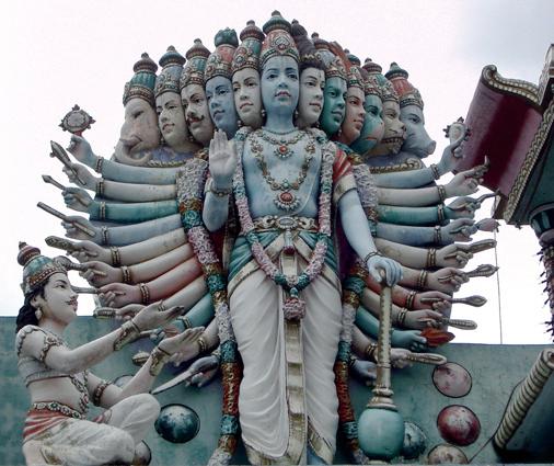 Krishna showing His universal form to Arjuna