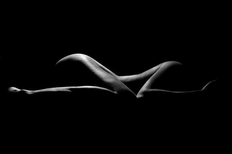 Naked Woman Sexy Silhouette, Sensual Girl Pose, Black Nude Body
